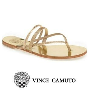 RARE VINCE CAMUTO gold rhinestone metallic sandals